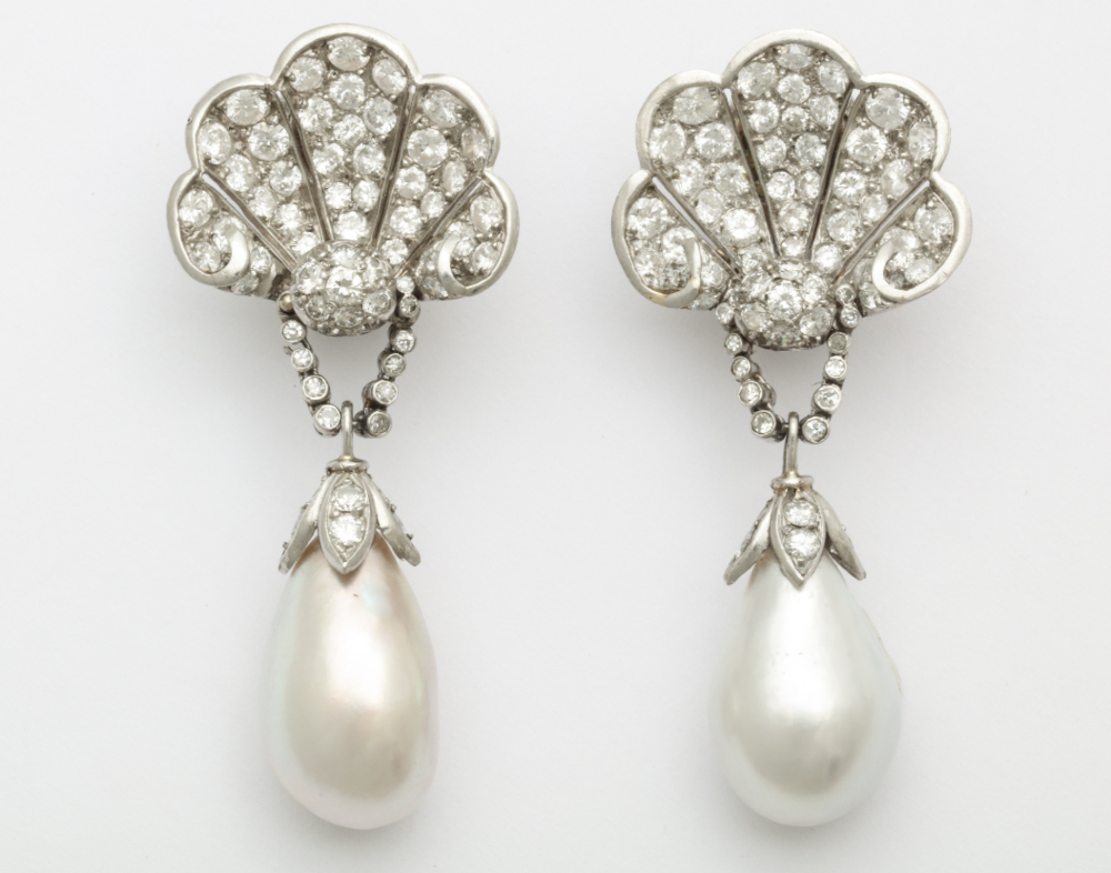 Vintage Verdura diamond ear clips with natural pearl drops