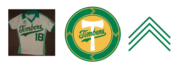 Next I added a Portland wordmark, some accents on the axe to make it less flat and an EST 1975 on the handle of the axe to pay respect to the long and storied history of the Timbers. I also made a red version as the timbers have used a red version of their crest before.