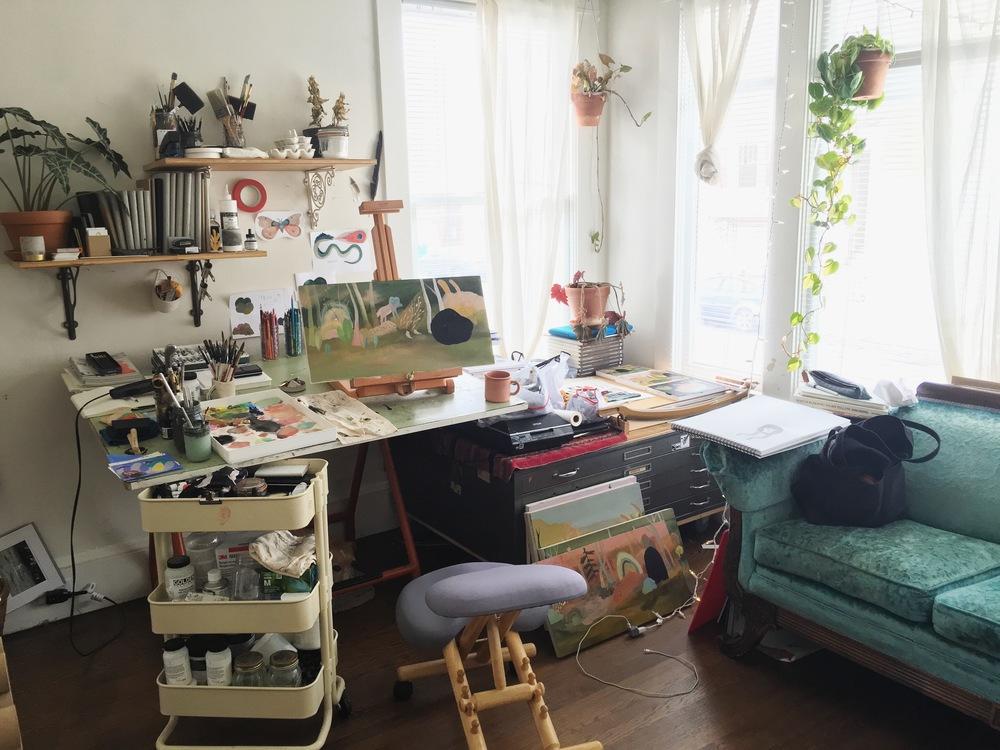 my living room studio in a slight bit of disarray