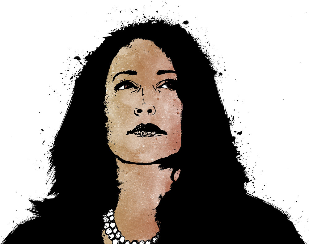Illustration of Sen. Kamala Harris.