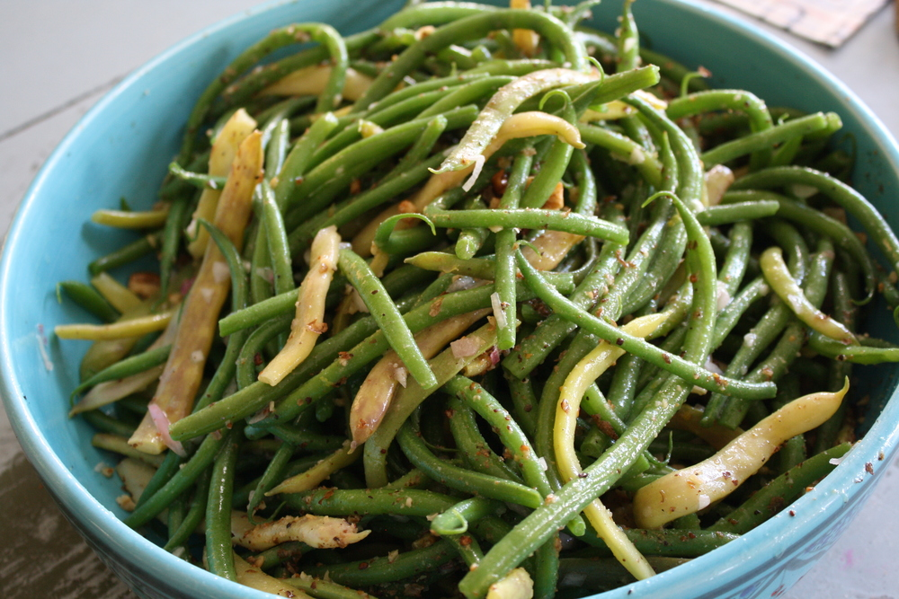 ... and 'Calima' beans with a shallot and mustard vinaigrette and wal...
