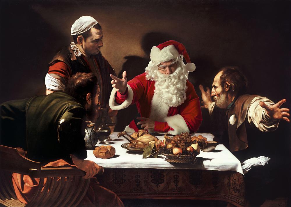 Caravaggio Painting with Santa on Ryan Williams Art Blog