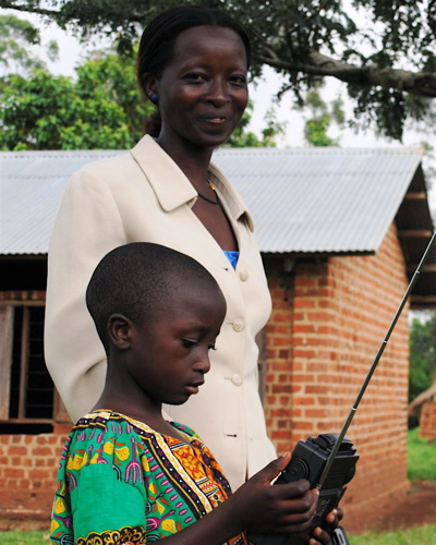 Etón's donation of hundreds of radios has already reached children and teachers in seven countries on three continents. Photo coutesy of our partner, The Empower Campaign, in Uganda.