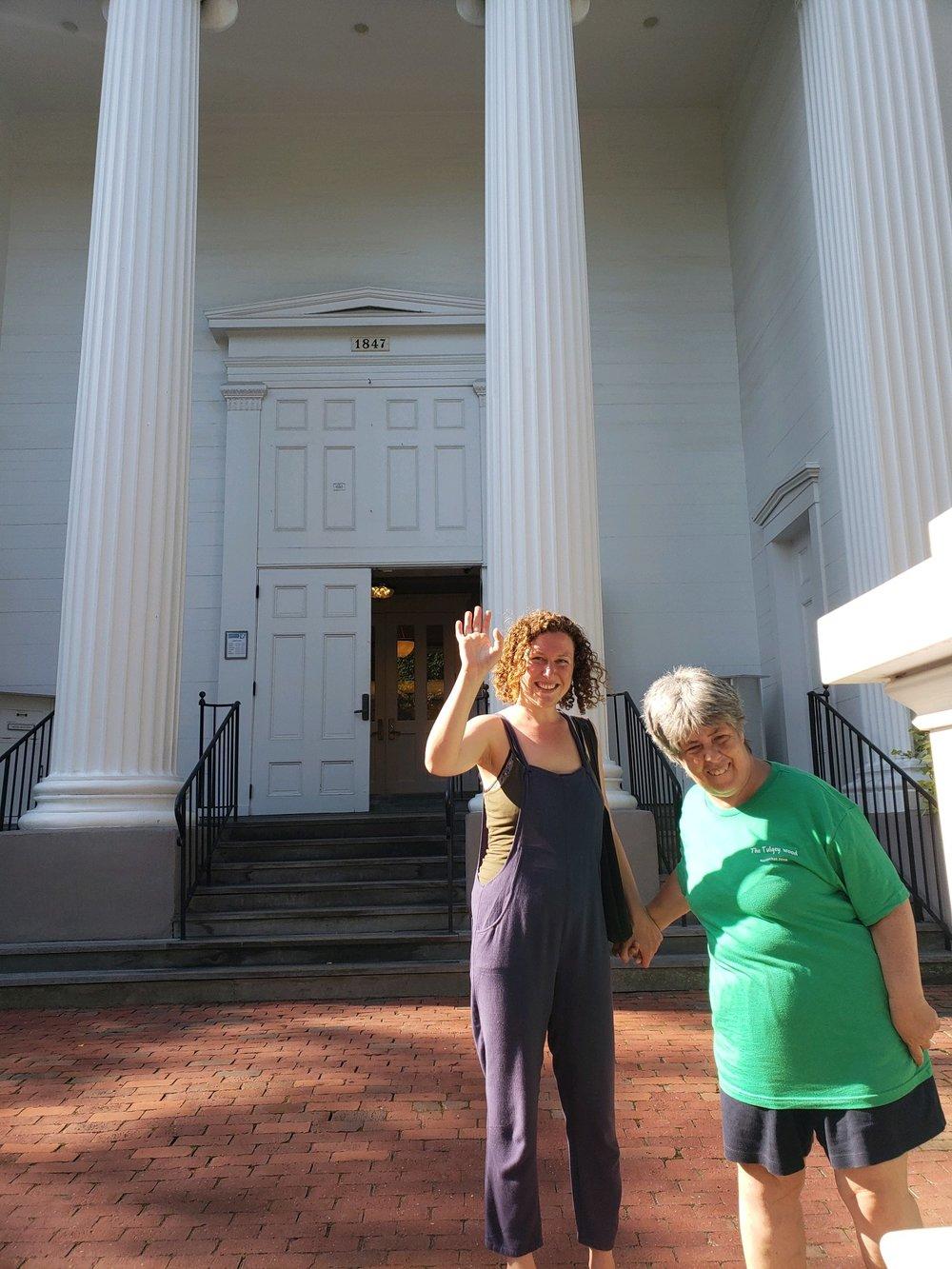 Rachel & Ellen in front of museum