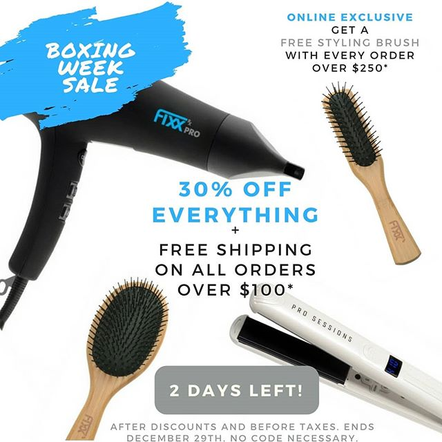 🎁🎁Our BOXING WEEK SALE is on now until Friday! 🎁🎁30% off all flat irons, dryers and brushes. Plus, we'll take care of the shipping. Orders over $250 will receive a FREE Styling Brush! . . . . . #boxingday #sale #beauty #hairstylingtools #deals #shopping #giftguide #hairstyling #flatiron #beautytools #giftsforgirls