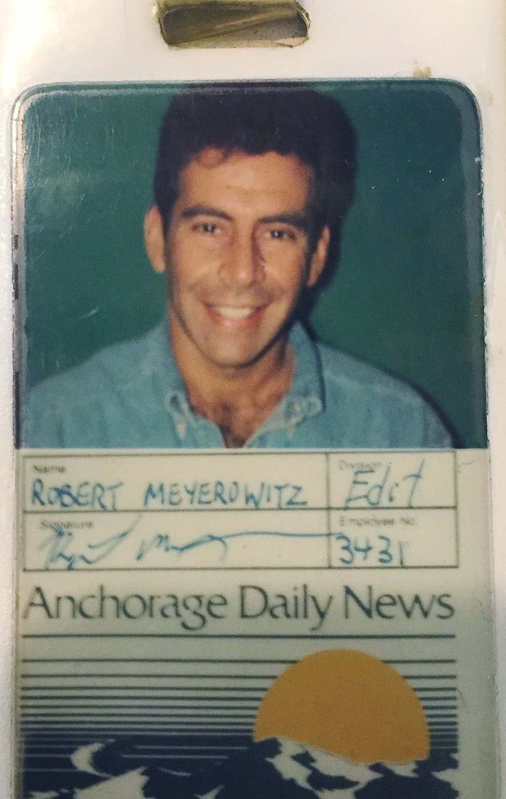 Robert Meyerowitz's Anchorage Daily News ID badge. / Courtesy of Robert