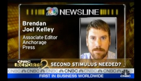 "Screenshot from Brendan's CNBC appearance. ""The funny part is they Photoshopped out my earrings,"" Brendan says, ""and ADN's gossip column, the Alaska Ear, wrote about it with side-by-side images of what I'd given them and what appeared on screen."" / Courtesy of Brendan"