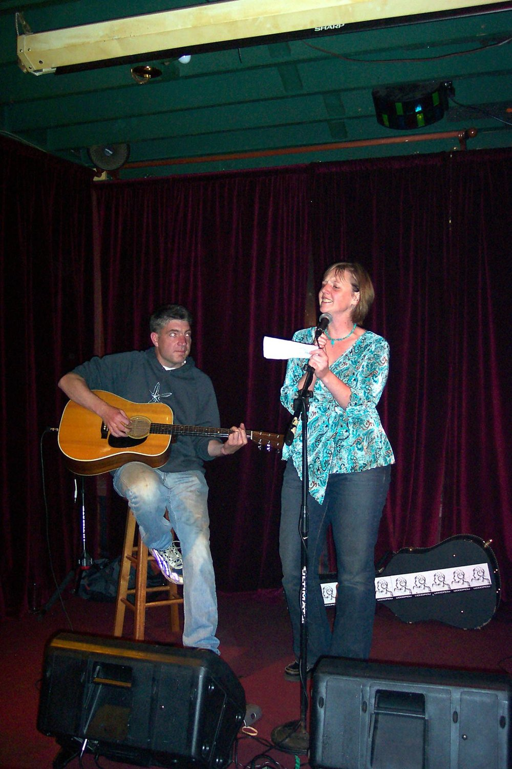 Lynne Snifka singing for her Muskrat Love story. / Courtesy of Robert Meyerowitz