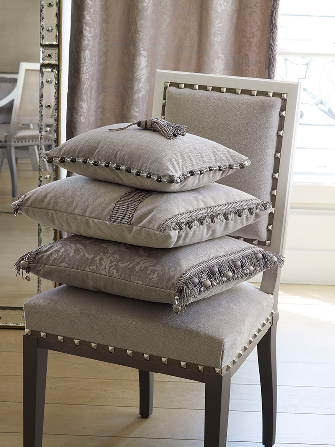 Trim:    Diva Collection   Fabric:    Eos (Bottom Pillow)  Eolia (Top Pillow)  Eden (Chair & Middle Pillow)