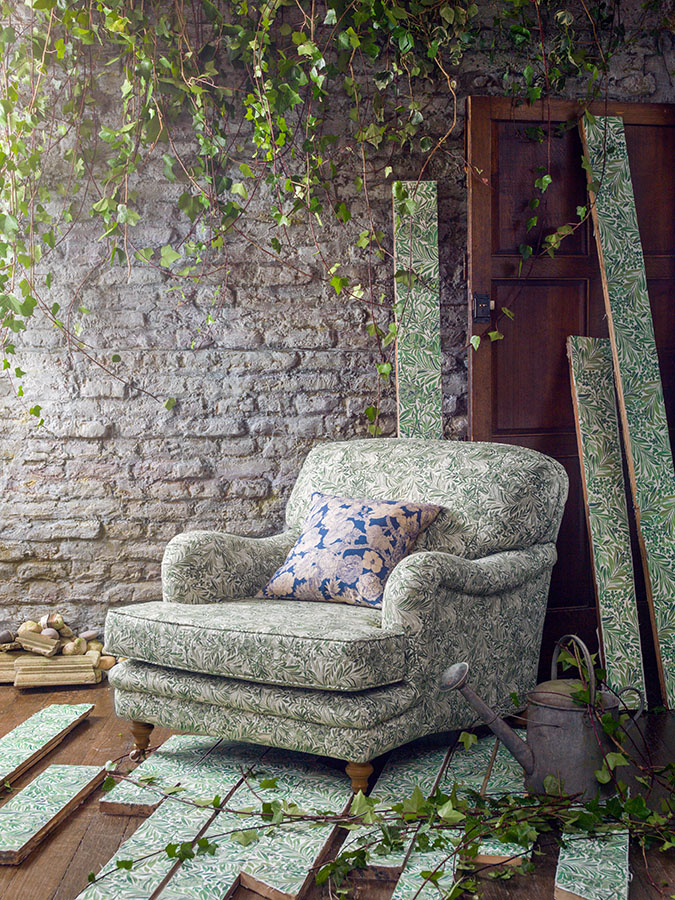 Chair - Wallace Secret Garden  06675101B, Cushion - Zennor Forest; 06675103A, Wallpapered floor boards - Wallace 07206103B.jpg