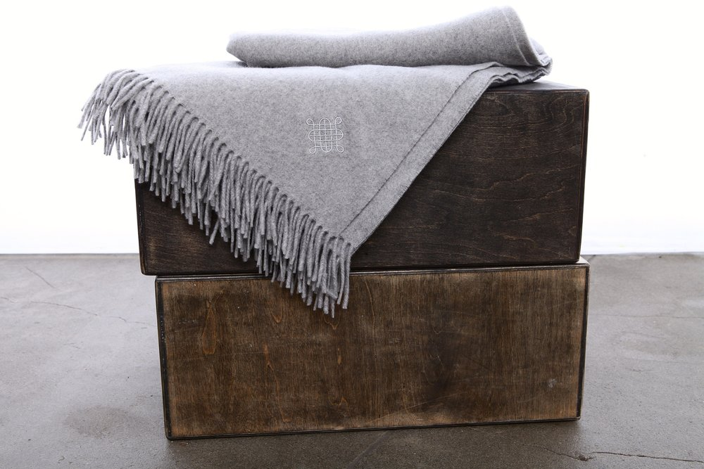 Kearlsey SKU#ST-T-Dapple Grey St Tropez 100% finest Mongolian cashmere fringed throw blanket in Dapple Grey with Torquil Kearsley logo  Made in Italy.jpg