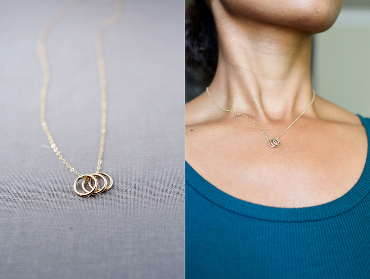Three Rings 14k Gold Necklace