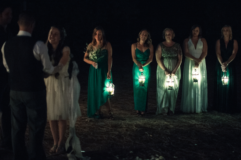Bridesmaids with lanterns! The ceremony was almost pitch dark.