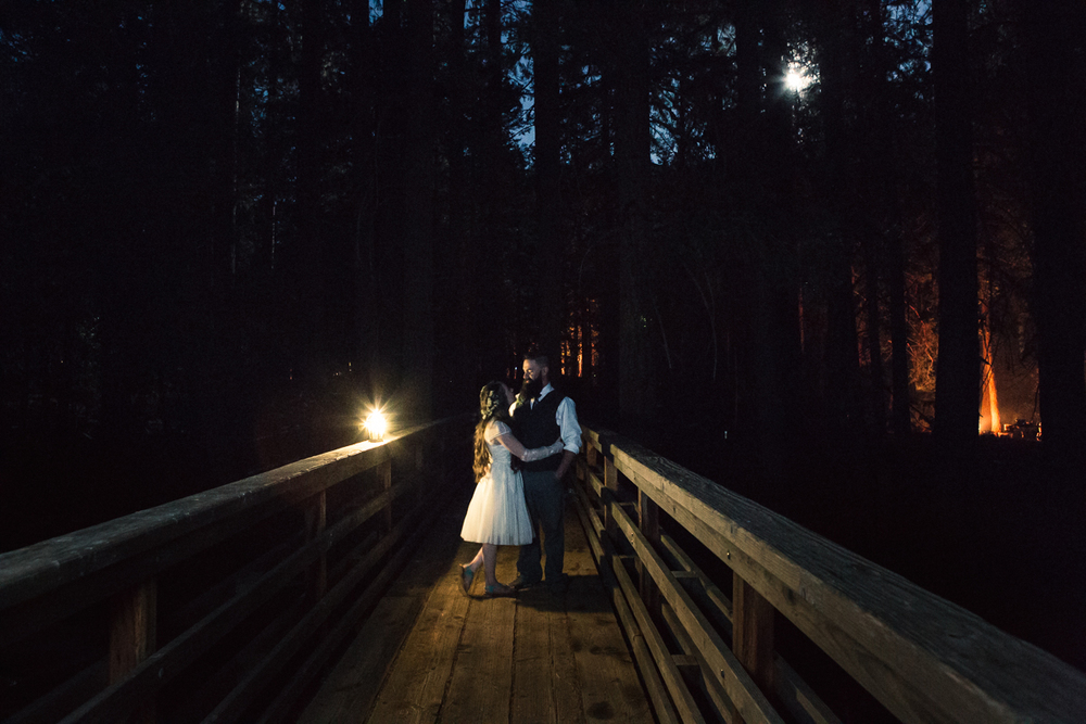 Night time bridge shot! Dig that full moon and camp fire vibe.