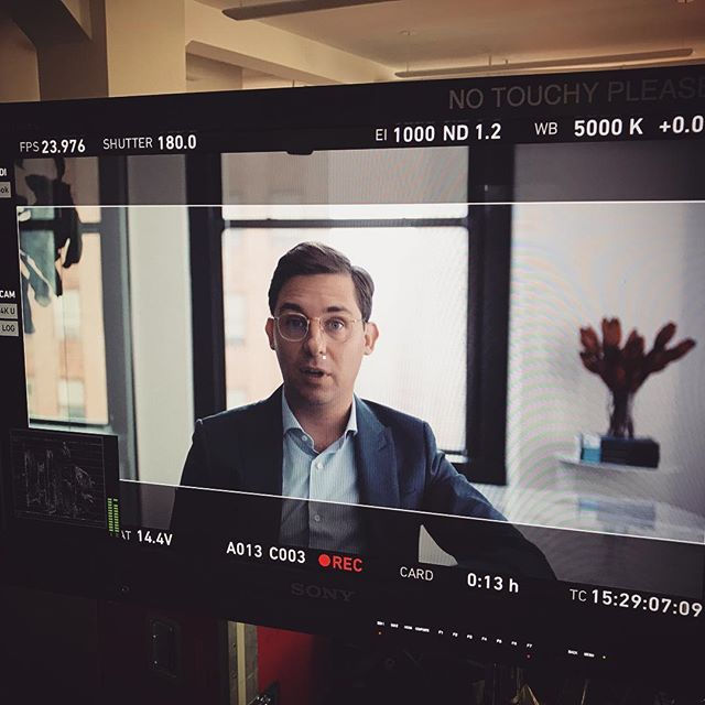 Our founder, Patrick, in front of the camera #shootday #dreamforce #salesforce #tech #startuplife #nyc