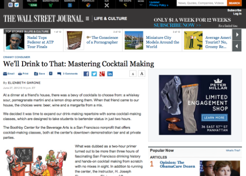 """We'll Drink to That: Mastering Cocktail Making,"" Wall Street Journal Online, June 2012"