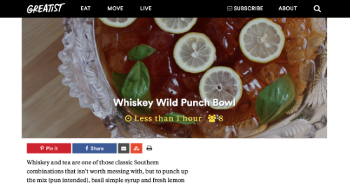 """Whiskey Wild Punch,""  Greatist.com,  July 2015"