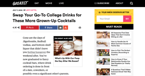 """Grown Up Cocktails,"" Greatest.com, July 2015"