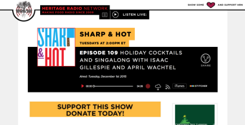 """Episode 109 Holiday Cocktails and Singalong with Isaac Gillespie and April Wachtel,""  Sharp & Hot/Heritage Radio Network,  December 2015"