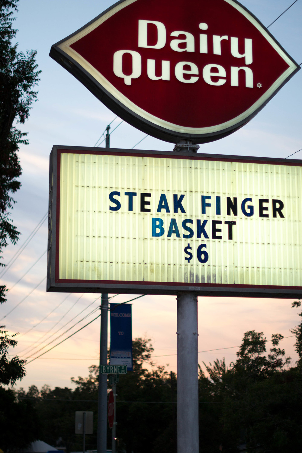 "Production designer Jake Kuykendall made sure the Diary Queen sign read ""Steak Finger Basket"" because really there isn't much that's better than a $6 Steak Finger meal from DQ!"