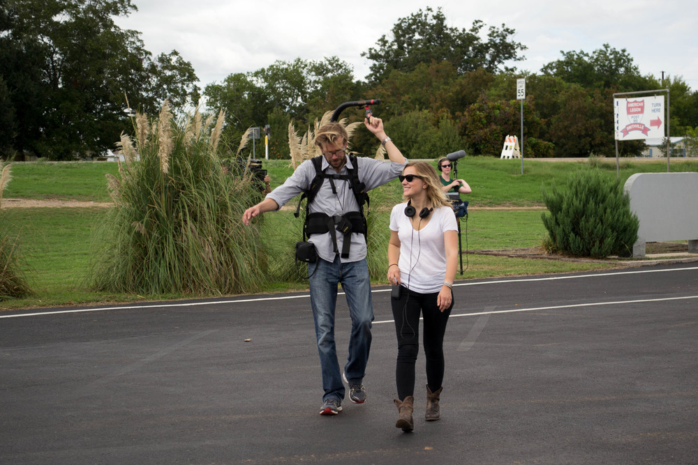 Anna & Charlie on set in Smithville, TX