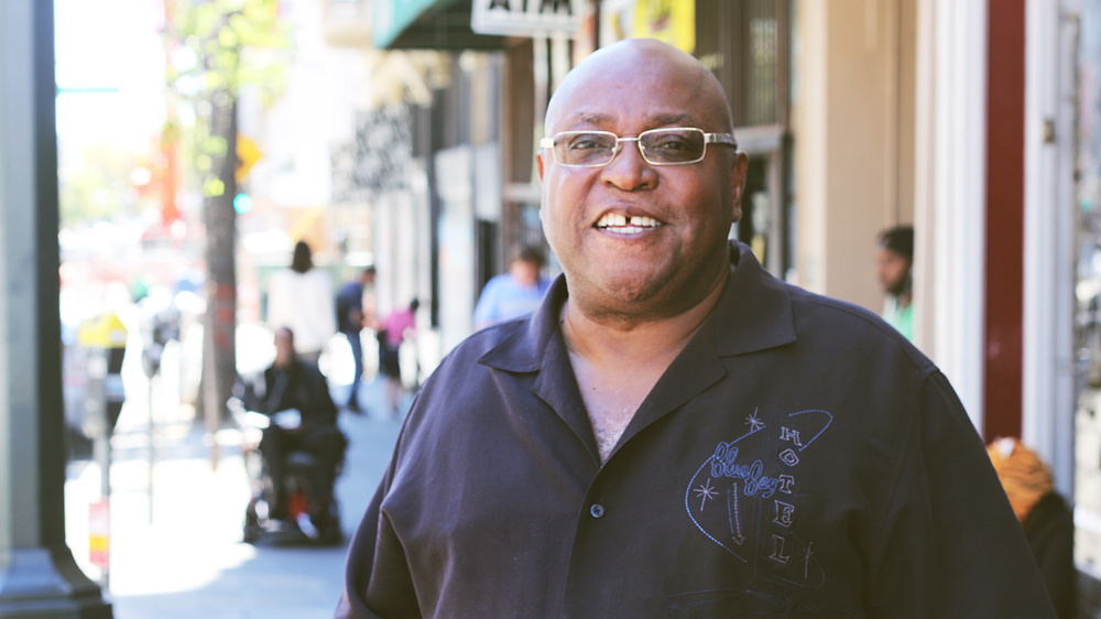 Pastor Marvin Hall after preaching a sermon at City Team recovery center in San Francisco's Tenderloin District.
