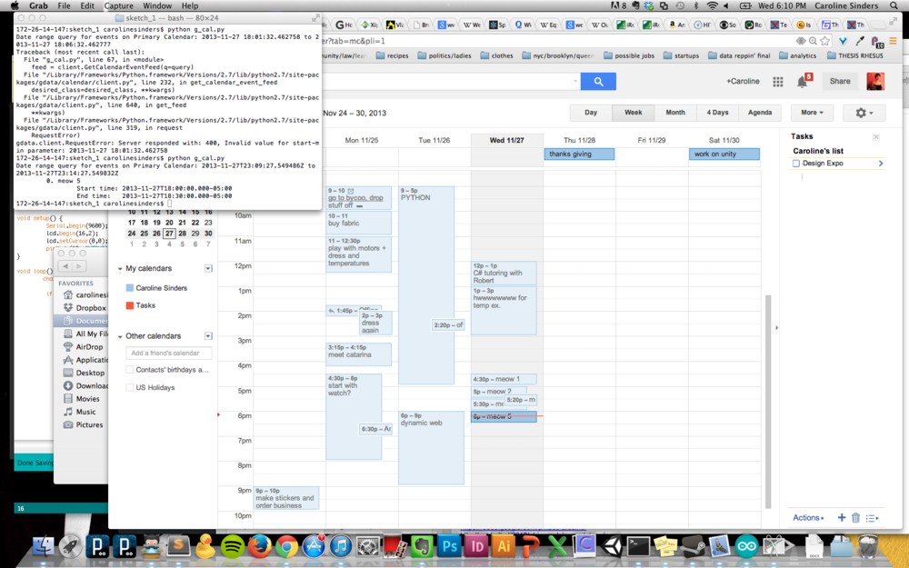 Screen shot of python code parsing my google calendar data.