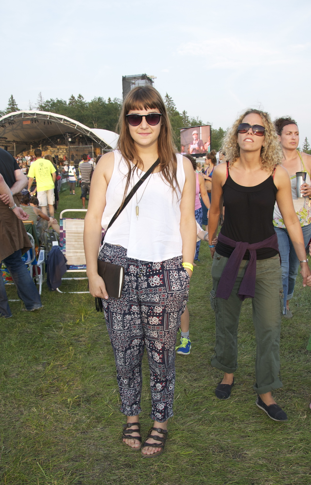 Printed pants + loose white tee + those super great bangs while clutching a leather bound journal…nailed it.