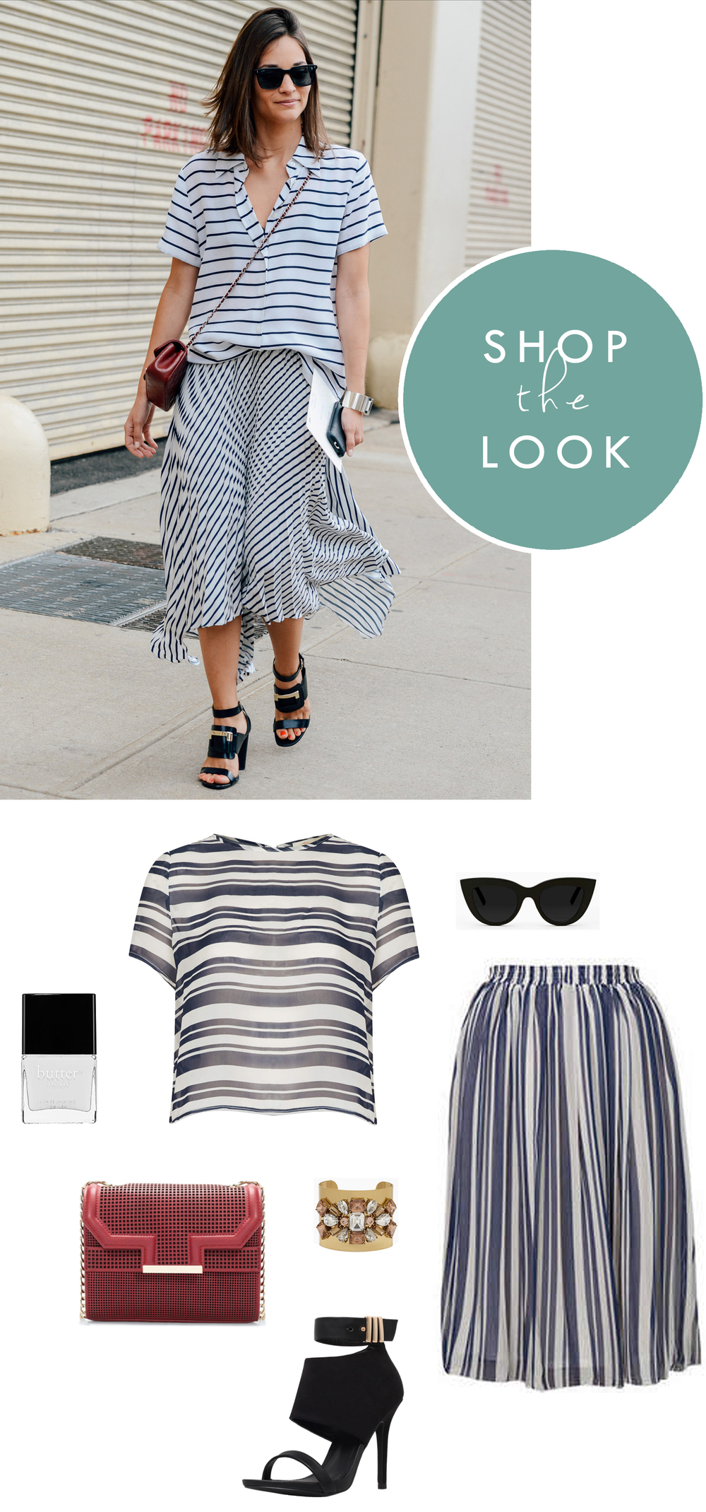 nyfw street style shop the look stripes