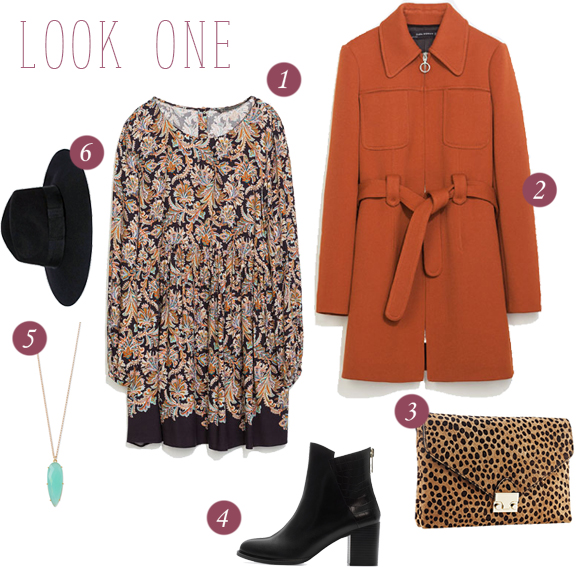1. Paisley dress // 2. Front pocket coat // 3. Cheetah print clutch // 4. Croc-heel ankle boots // 5. Leah Alexandra aqua necklace // 6. Wide brim wool hat