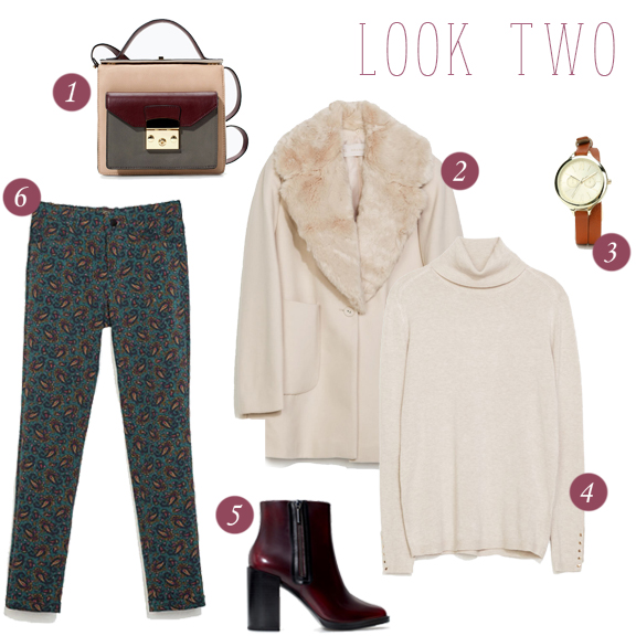 1. Colour block purse // 2. Faux sheering coat (looks so great on, this picture doesn't do it justice!) // 3. Double wrap watch // 4. Button cuff turtleneck // 5. Burgundy side-zip bootie // 6. Paisley trousers