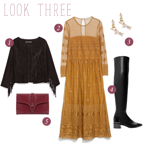 1. Fringed leather jacket // 2. Embroidered midi length dress // 3. Leah Alexandra ear climbers // Over-the-knee leather boot with patent toe // 5. Burgundy clutch with buckle detail