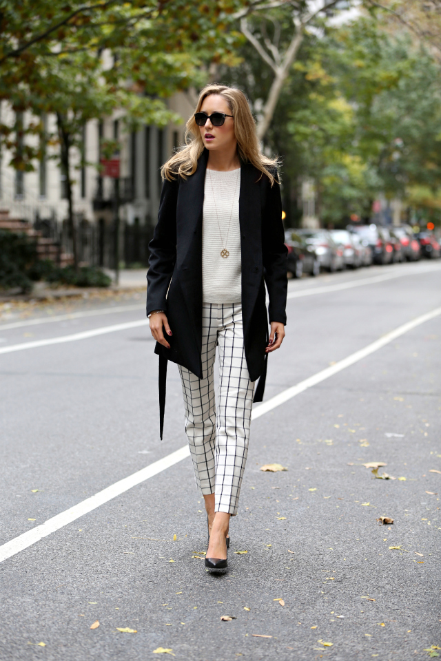 b ivory and black windowpane check cropped ankle pants banana republic tart black coat ralph lauren adena pointed toe pumps work fashion office attire style blog black and white classic outfits ideas professional ann taylor horizontal sweater.jpg