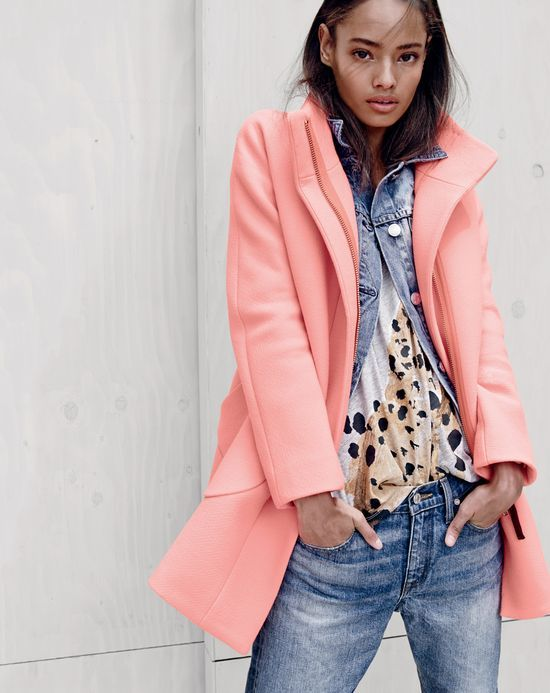 J.Crew women's Donald Robertson for J.Crew cheetah tee with pink cocoon coat and broken-in boyfriend jean.