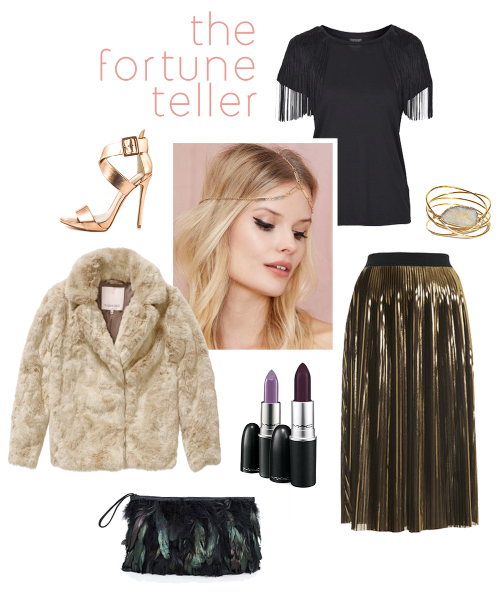 Forecast the future while looking fantastic in this enchanting faux fur coat! // Happenstance heels // Happy-future headpiece // Foreshadowing fringe top // Bewitching bangles // Glimpse-into-the-future gold foil skirt // Unpredictably purple lipstick // Foretelling feathered clutch