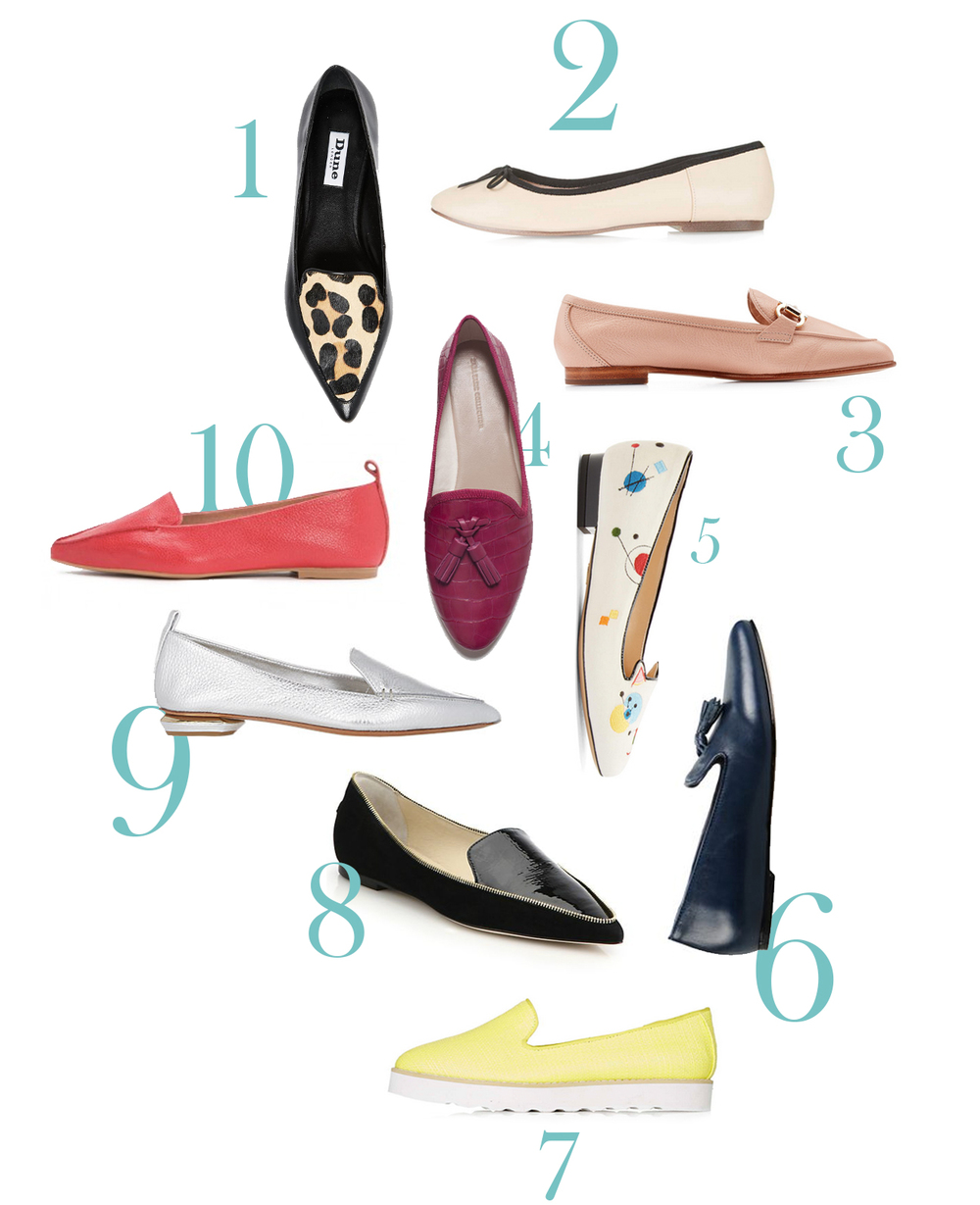 1. Dune Austine leopard flats ($145) // 2. Topshop Venice ballet flats ($32) // 3. Salvatore Ferragamo blush loafers ($485) // 4. Zara crocodile embossed tasselled flats in fuchsia ($36) // 5. Charlotte Olympia white velvet Abstract Kitty flats ($625) // 6. Leonardo Principi navy moccasins ($190) // 7. Topshop Seol flatform shoes ($64) // 8. Jimmy Choo Guild zip-trimmed flats ($625) // 9. Nicholas Kirkwood metallic loafers ($468) // 10. Jeffrey Campbell Smoking flats ($130)