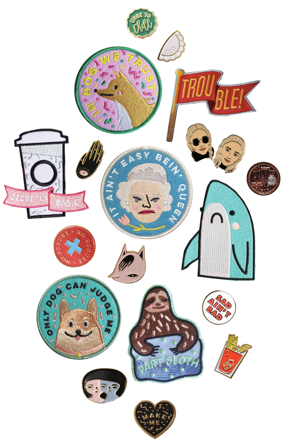 Urge to Chill pin by Kodiak Milly // Perogy pin by Happyland Printshop // Trouble patch by Kodiak Milly // Olsen Twins pins by Drake General Supply // RIP Penny pin by Drake General Supply // It Ain't Easy Bein' Queen patch by Kodiak Milly // Sad Shark patch by Kodiak Milly // Sad Ain't Bad pin by Drake General Supply // Caesar Freak pin by Happyland Printshop // Part Sloth patch by Kodiak Milly // Make Me pin by Kodiak Milly // Two Faces pin by Matea Radic for Margot + Maude // Only Dog Can Judge Me patch by Kodiak Milly // Pink Monster pin by Matea Radic for Margot + Maude // No Scrubs pin by Kodiak Milly // Secretly Basic patch by Kodiak Milly // Evil Eye Hand pin by Matea Radic for Margot + Maude // In Dog We Trust patch by Kodiak Milly