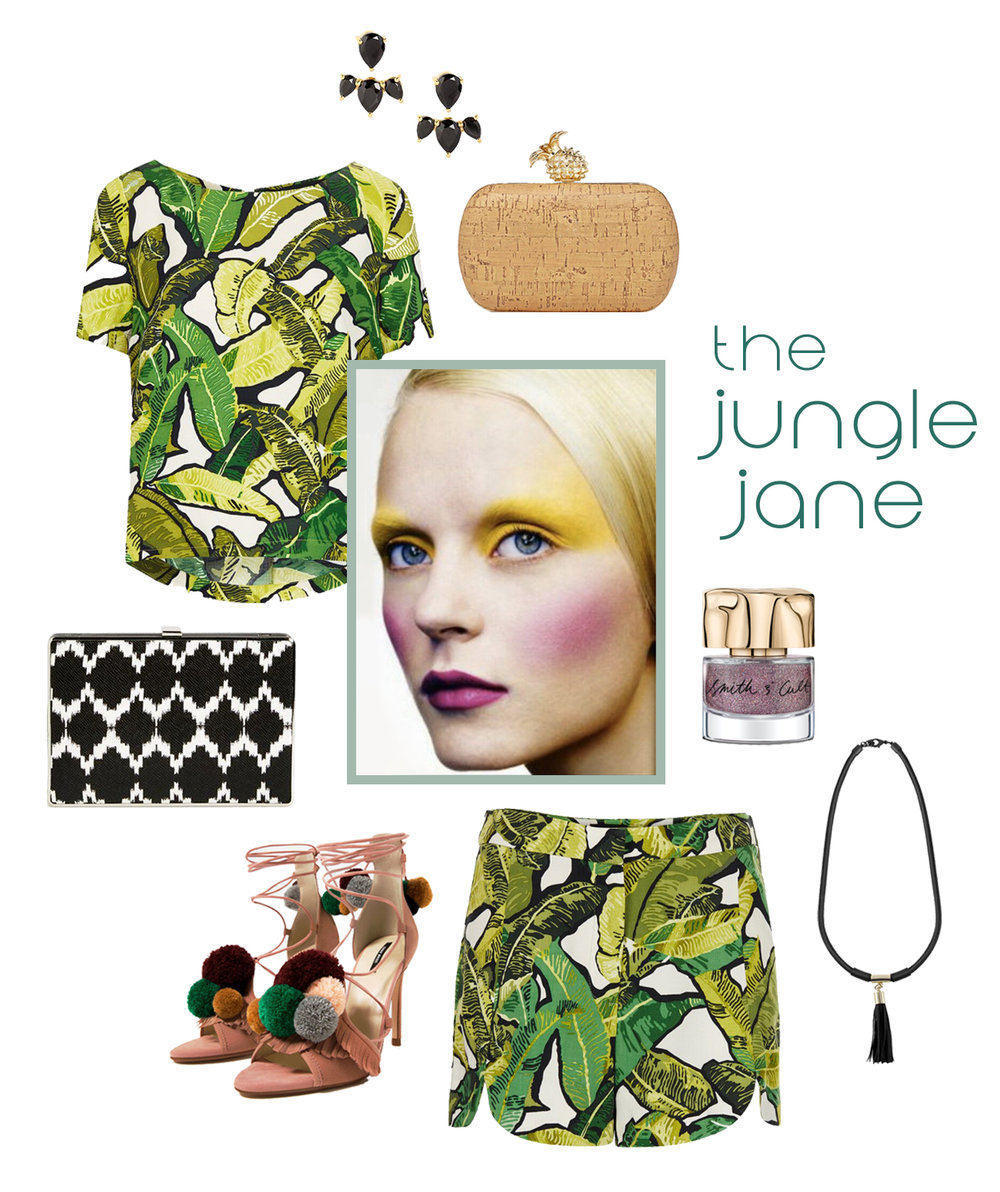 jungle theme ootd flat lay