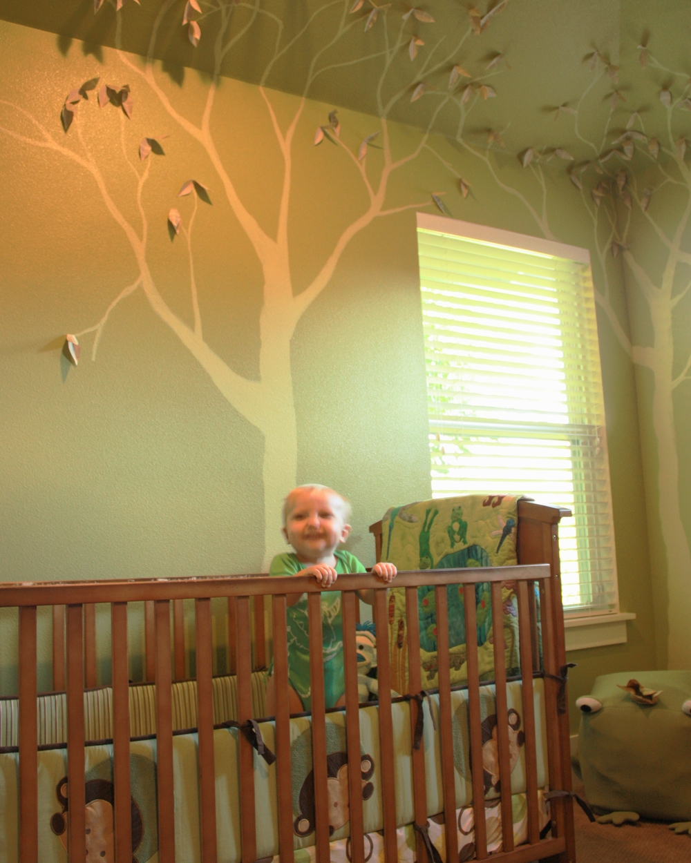 My son, finally in his own room at one year old.