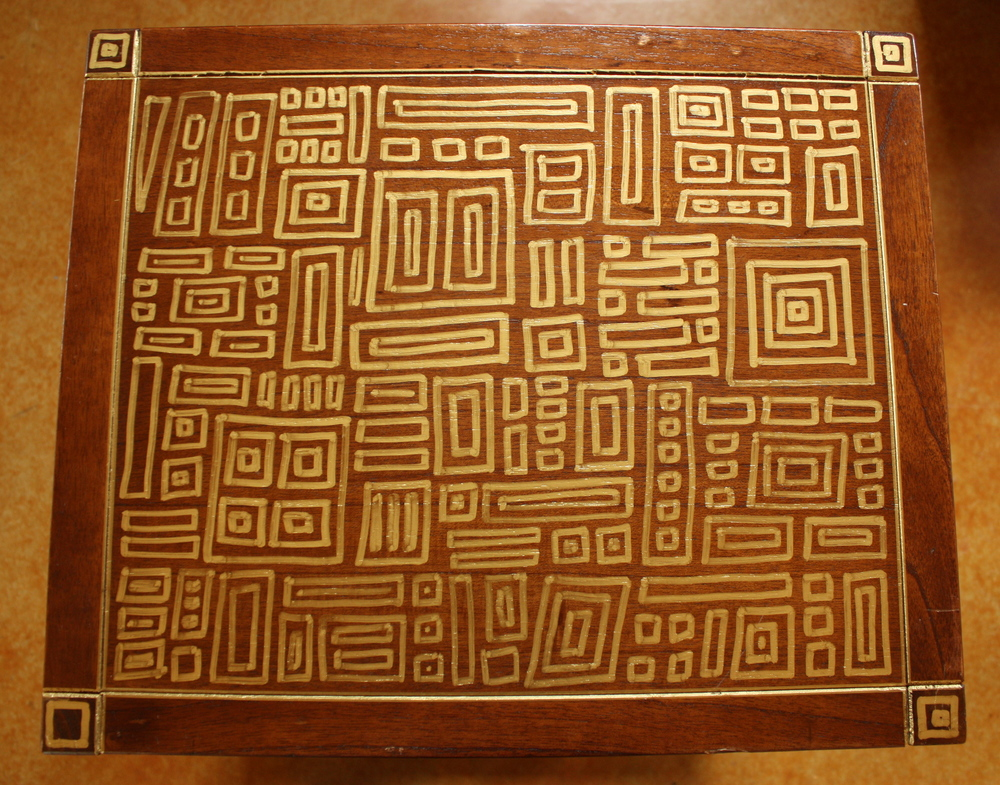 hand painted table gold rectangles.JPG
