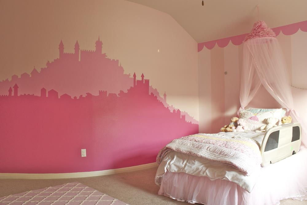 Pink princess castle mural