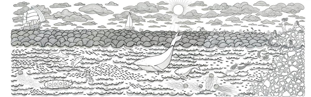 """""""The Adventure"""" 3.5'x10.5' Pen and ink on paper $1500 unframed"""