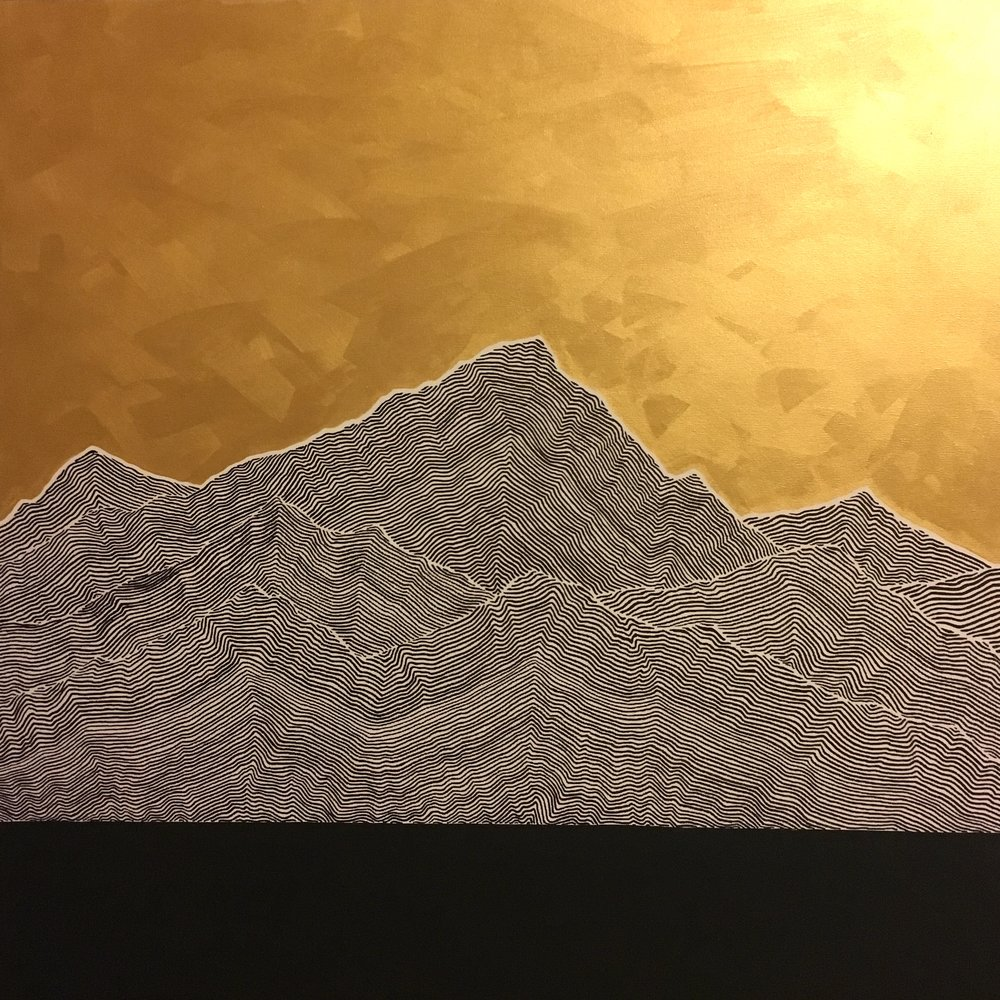 "Mountains I Ink and latex on canvas 36"" x 36"" $1200"