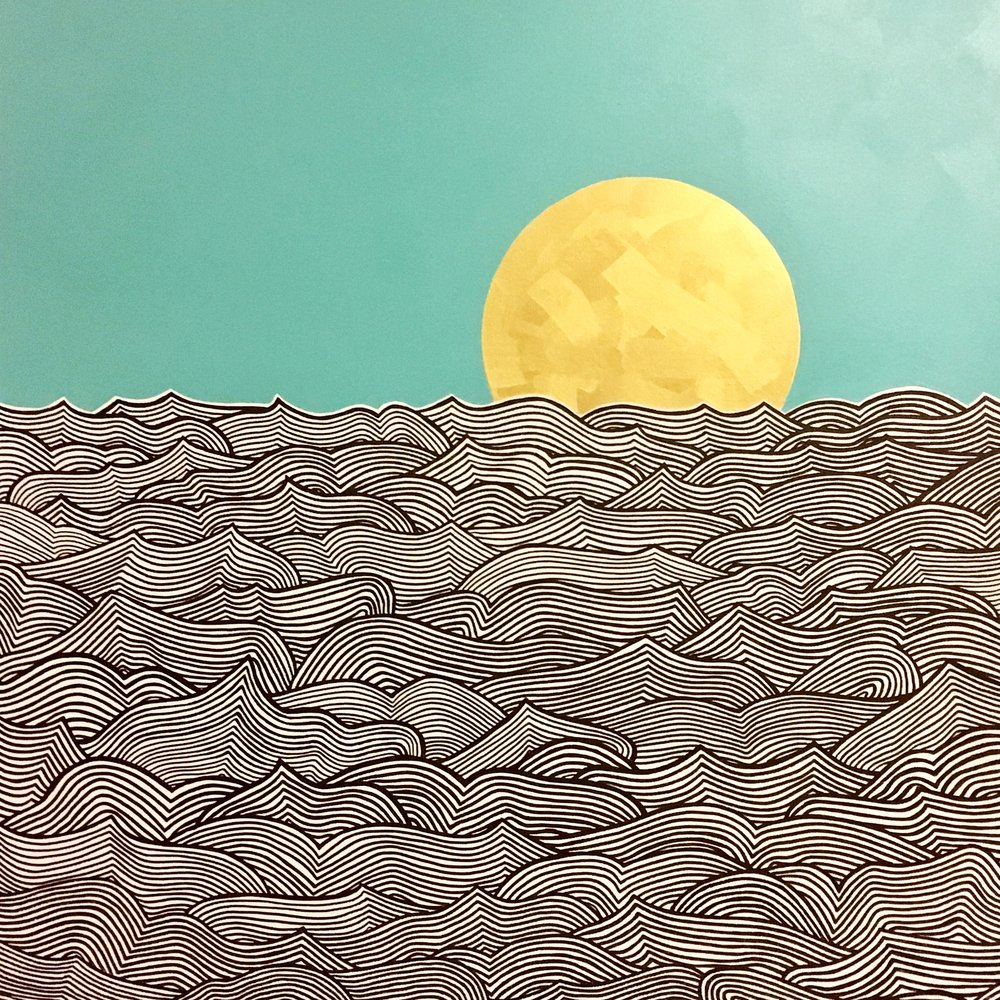 "Waves II Ink and latex on canvas 36"" x 36"" $750"
