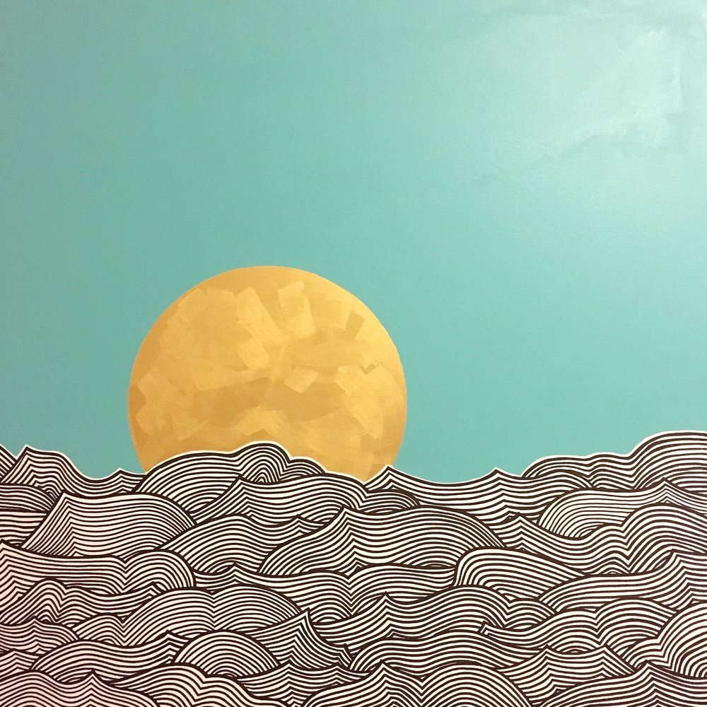 "Waves I Ink and latex on canvas 36"" x 36"" SOLD"