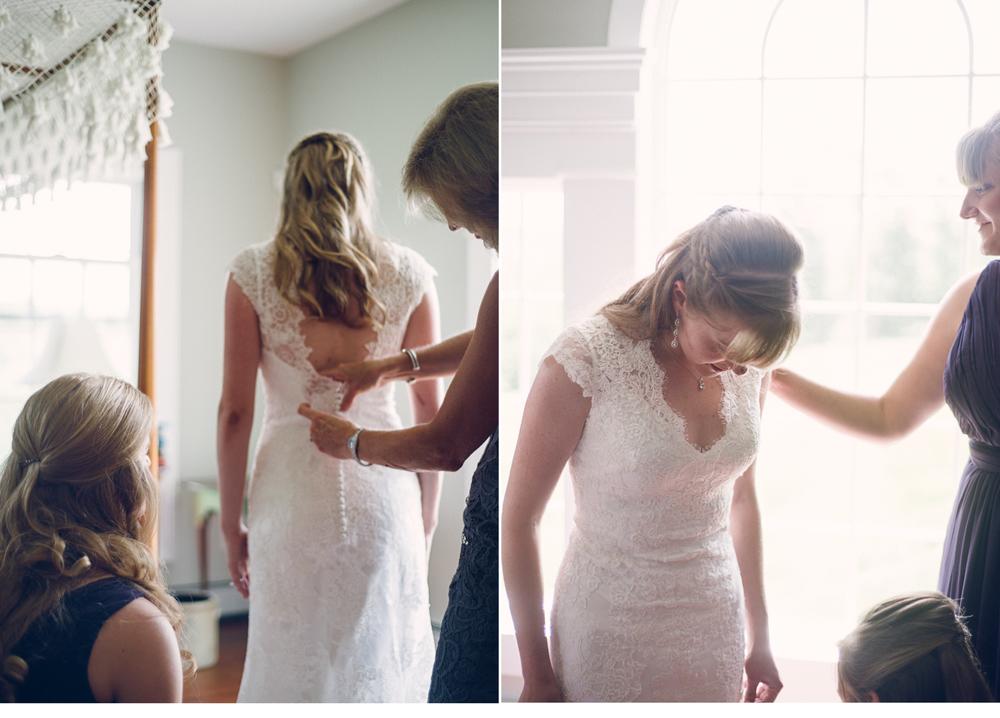 Bride Smoothing Wedding Dress