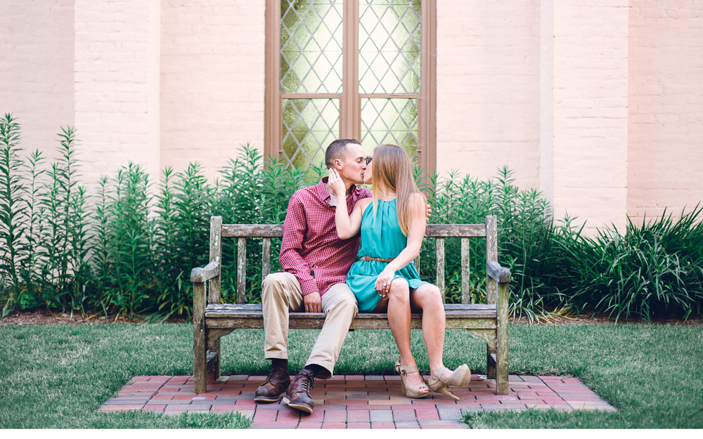 Kissing on a bench
