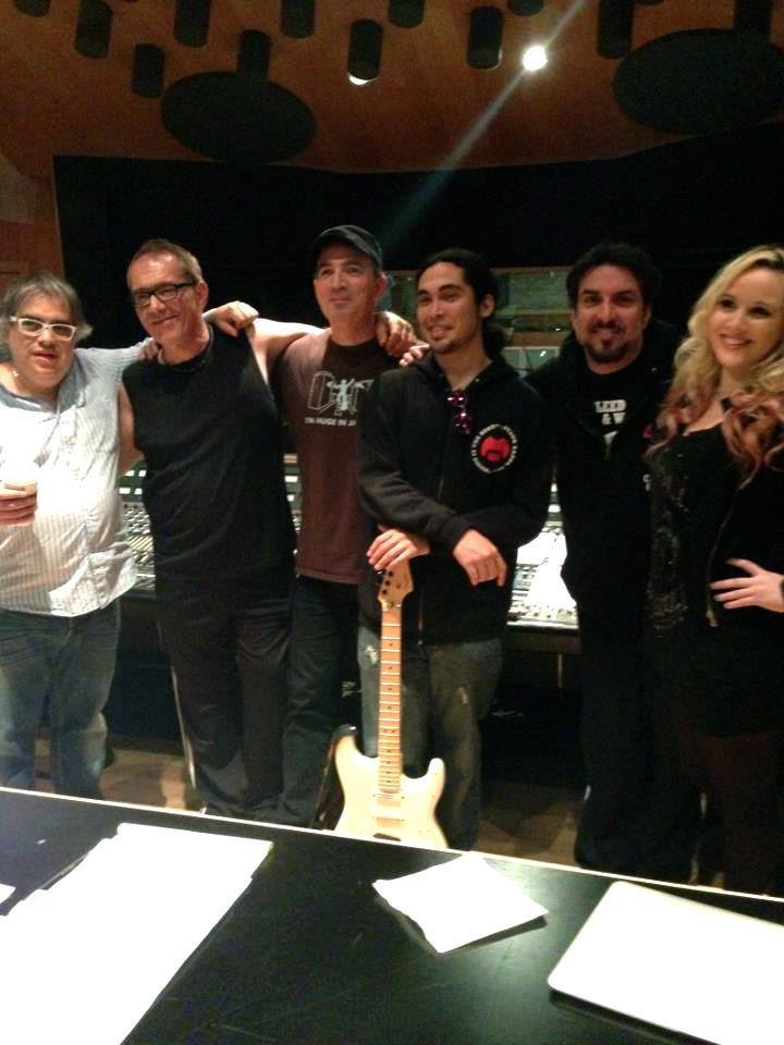 The band with producer Gustavo Farias