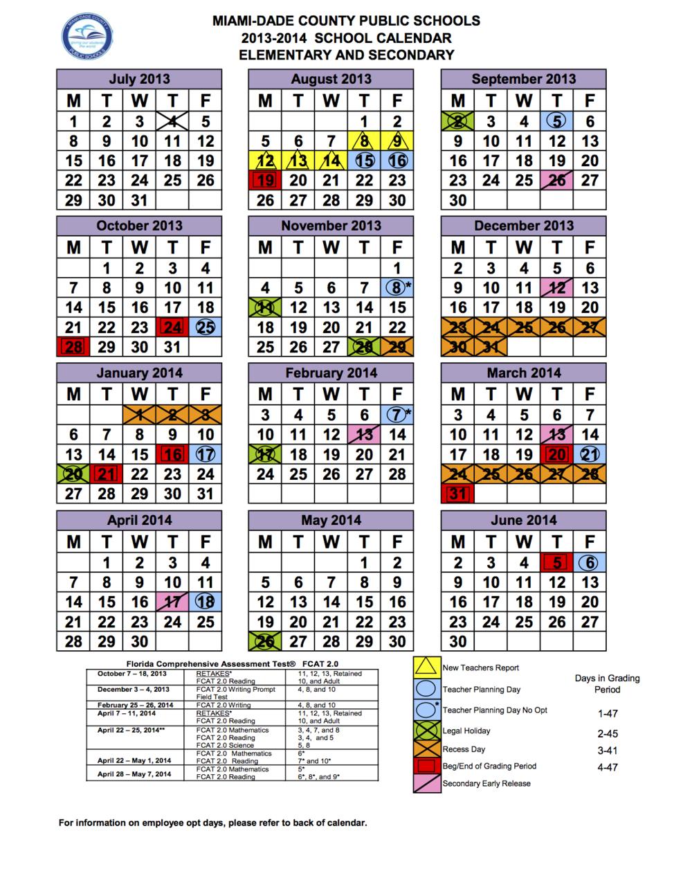 Miami Dade County 2013 Calendar | Calendar Template 2016