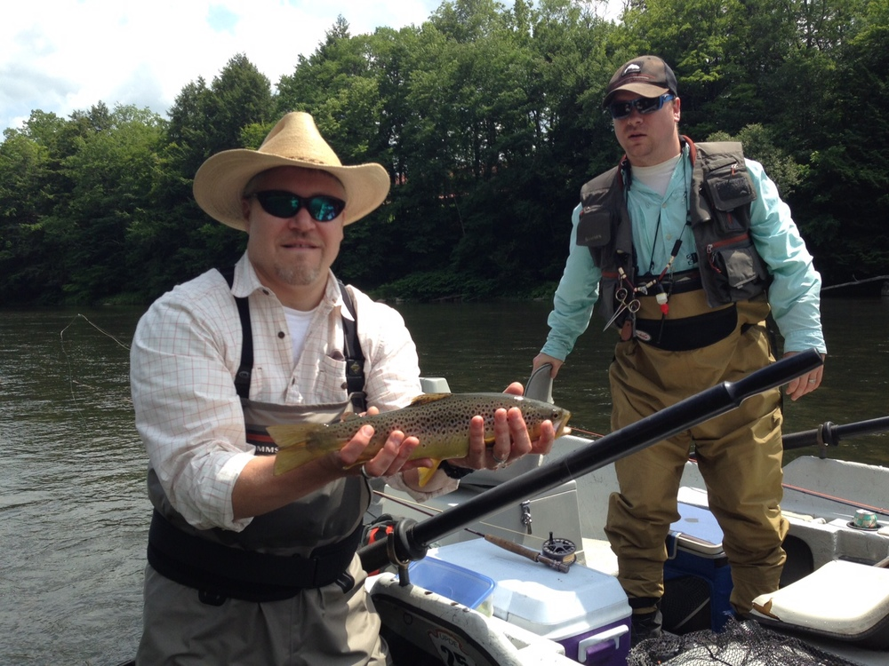 "the 17"" fish I waded to and my buddy, Lee Barnes, who will be a Hacklebarney member soon."